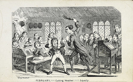 1839 caricature by George Cruikshank of a school flogging 'February - Cutting Weather - Squally' - George Cruikshank, 1839 - BL.jpg