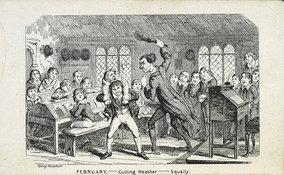1839 caricature by George Cruikshank of a school flogging - Birching