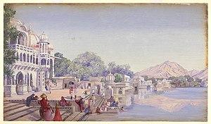 Pushkar Lake - An artist's view of Pushkar Lake in late 18th century during British rule
