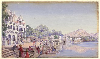 Pushkar Lake - An artist's view of Pushkar Lake in late 18th century during British rule