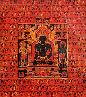Five Tathagatas - 'The Dhyani Buddha Akshobhya', Tibetan thangka, late 13th century, Honolulu Museum of Art. The background consists of multiple images of the Five Buddhas.