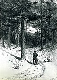 A graphite drawing on laid paper of a man walking along a forest trail, carrying a walking stick. The trees loom over him, filling most of the page, but there is a small clearing in the trees visible up ahead.