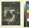 (Un vieux paysan présente une poignée de foin a son âne.) (NYPL b14504919-1147702).tiff