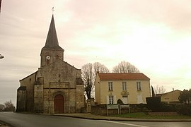 The church of Saint-Rémi and the town hall, in Pouillé