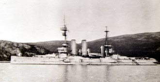 Murmansk - HMS Glory, flagship of the British North Russia Squadron in Murmansk in the First World War