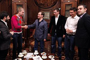 Sergei Svetlakov - Sergei Svetlakov and other Comedy Club members meeting with Dmitri Medvedev