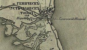 Henichesk Strait - Nineteenth century map of the Henichesk Strait