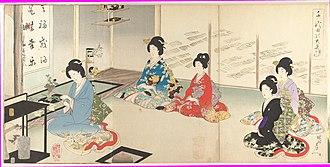 Ōoku - Depiction of ikebana flower arranging at the Ōoku (by Hashimoto Chikanobu)