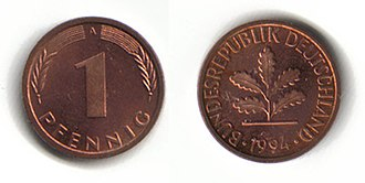 Deutsche Mark - 1 pfennig
