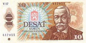 10 Czechoslovakan koruna 1985-1989 Issue Obverse