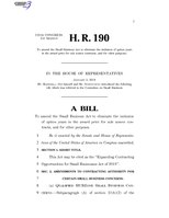 116th United States Congress H. R. 0000190 (1st session) - Expanding Contracting Opportunities for Small Businesses Act of 2019 A - Introduced in House.pdf