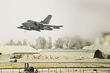 Photograph of a Tornado taking off from an Airfield in Afghanistan