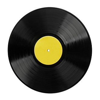 Phonograph record - A typical 12-inch LP vinyl record.