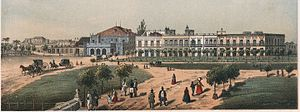 Tacón Theatre - Teatro Tacón (at left), Havana, 1855