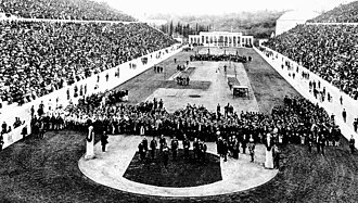 1896 Summer Olympics - The opening ceremony in the Panathenaic Stadium