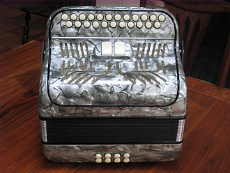 Diatonic button accordion - Image: 1950s Diatonic Button Accordion Paolo Soprani Irish Style