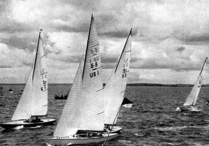 5.5 Metre (keelboat) - 5.5-metre class Olympic race in Helsinki 1952. Boats are German Tom Kyle (G I), Gold medalist Complex II (US I) and Danish Jill (D 2).