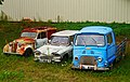 1957-1960 Renault Juvaquatre, 1965 Citroën Ami 6 Break, Renault Estafette 800, Saint-Cirq-Madelon, Lot, France (8482277980).jpg