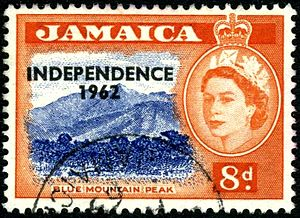 Postage stamps and postal history of Jamaica - A 1956 stamp of Jamaica overprinted for Independence in 1962.