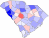 Blue counties were won by West and red counties were won by Watson