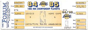 1984–85 NBA season - A ticket for Game 2 of the Western Conference Semifinals between the Lakers and the Trail Blazers.