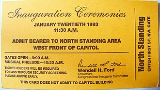 First inauguration of Bill Clinton - Pass to the Capitol Hill standing area for the Inauguration