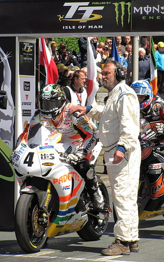 Isle of Man TT - Ian Hutchinson on the start-line of the Senior TT Race on 11 June 2010