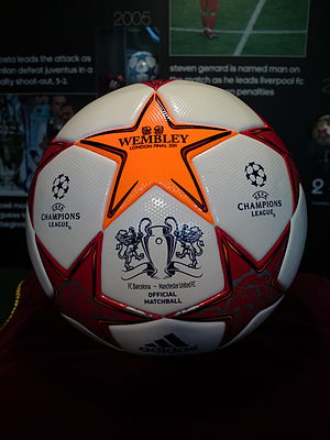 2011 UEFA Champions League Final - A ball from the match on display at the UEFA Champions Festival in Hyde Park, London