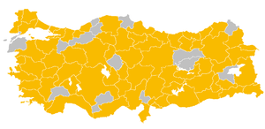 Turkish general election, 2011 - Map of the election rallies of the Justice and Development Party