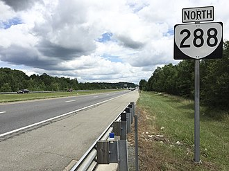 Virginia State Route 288 - View north along SR 288 north of SR 711 in Powhatan County