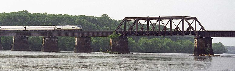 The Amtrak/Springfield Terminal Railroad Bridge over the Connecticut River, connecting the towns of Enfield and Suffield, Connecticut