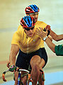 231000 - Cycling track Darren Harry Paul Clohessy high five - 3b - 2000 Sydney race photo.jpg