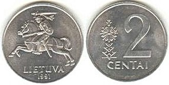 Coins of the Lithuanian litas - Image: 2 centai (1991)