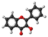 Ball-and-stick model of the 3-hydroxyflavone molecule