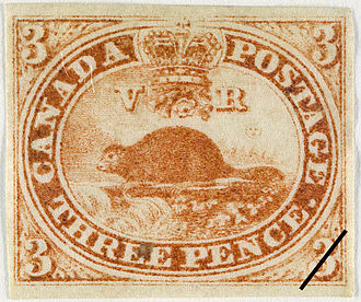 "Name of Canada - An 1851 Province of Canada postage stamp,  the 3 pence beaver (""Threepenny Beaver"")"
