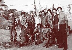 Kataeb Regulatory Forces - William Hawi with Kataeb militiamen at Tel al-Zaatar, 1976.