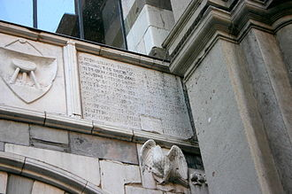 "Matteo I Visconti - A plaque on the Osii Loggia in Piazza Mercanti (""Merchant square"") in Milan, built in 1316 by Scoto da San Gimignano for Matteo I Visconti. Picture by Giovanni Dall'Orto"