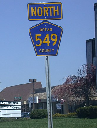 County Route 549 (New Jersey) - Signage for CR 549 along Brick Boulevard