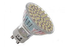 LED spotlight using 60 individual diodes for mains voltage power