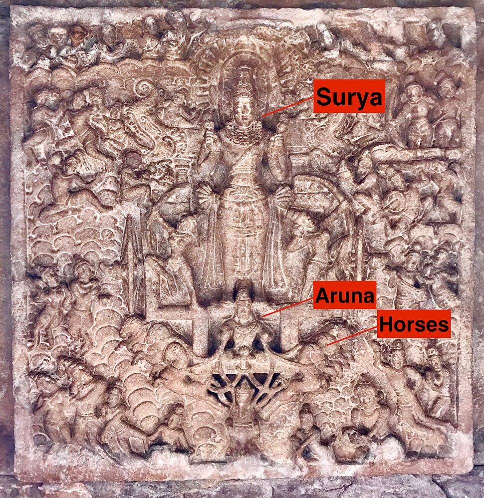 8th century Surya on chariot in ceiling at Virupaksha Shaivism temple, Pattadakal Hindu monuments Karnataka 1
