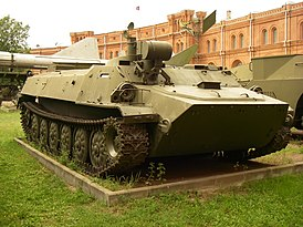 9P149 vehicle with 9M144 missiles of anti-tank complex «Shturm-S» in Military-historical Museum of Artillery, Engineer and Signal Corps in Saint-Petersburg, Russia.jpg