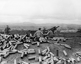 Con Thien - Company E, 2/12 Marines 105mm firing in support of 1/1 Marines near Con Thien, 25 November 1967
