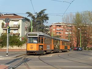 Azienda Trasporti Milanesi - An old 4800 series articulated streetcar (Jumbotram), on the new metrotranvia 7, in Precotto.