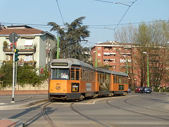 Azienda Trasporti Milanesi - An old 4800 series articulated streetcar (Jumbotram), on the new metrotranvia 7, in Precotto.