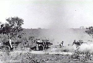 2/11th Field Regiment (Australia) - 2/11th Field Regiment 25-pounders at practice, June 1943