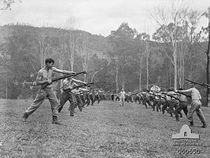 Land Warfare Centre (Australia) - Australian soldiers undertaking bayonet training at Canungra, November 1943