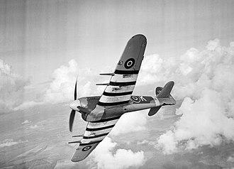 No. 486 Squadron RNZAF - A Hawker Typhoon Mk IB of No. 486 Squadron RAF in flight, in 1943