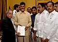 A delegation of MPs & MLAs from Telugu Desam Party led by former Chief Minister of Andhra Pradesh, Shri N. Chandrababu Naidu, at Rashtrapati Bhavan, in New Delhi on September 21, 2013.jpg