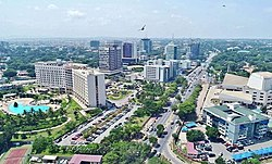 Drone view of central Accra