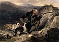 A gamekeeper trying to hush his dogs while he is kneeling an Wellcome V0021854.jpg